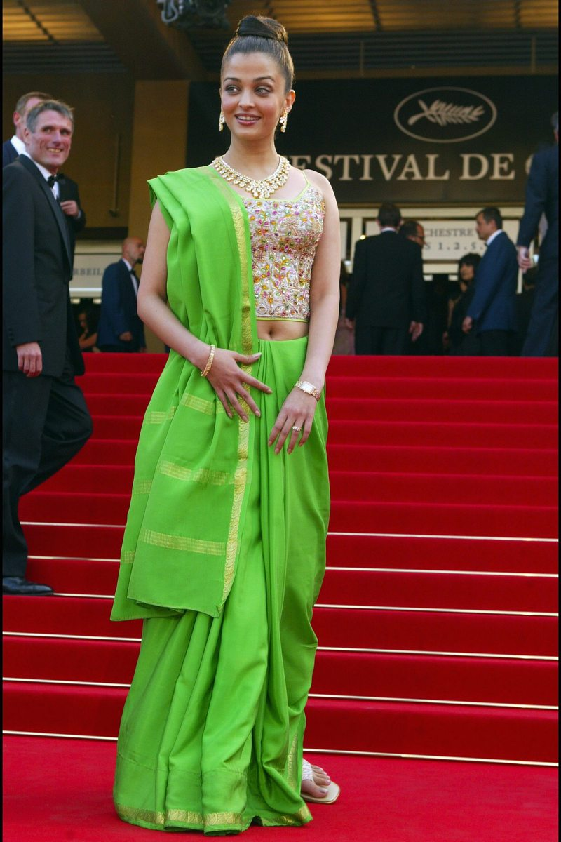"""FRANCE - MAY 19: 56th Cannes Film Festival: Stairs of """"Dogville"""" in Cannes, France on May 19, 2003 - Aishwarya Rai. (Photo by Pool BENAINOUS/CATARINA/Gamma-Rapho via Getty Images)"""