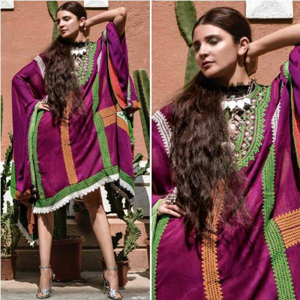 Anushka Sharma in a purple Olivia Dar kaftan