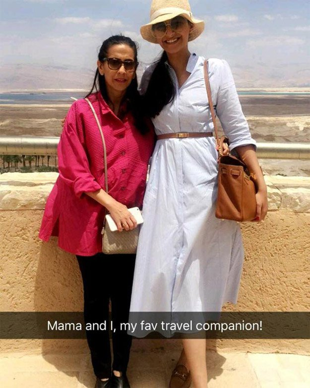 Sonam is also accompanied by her mother.