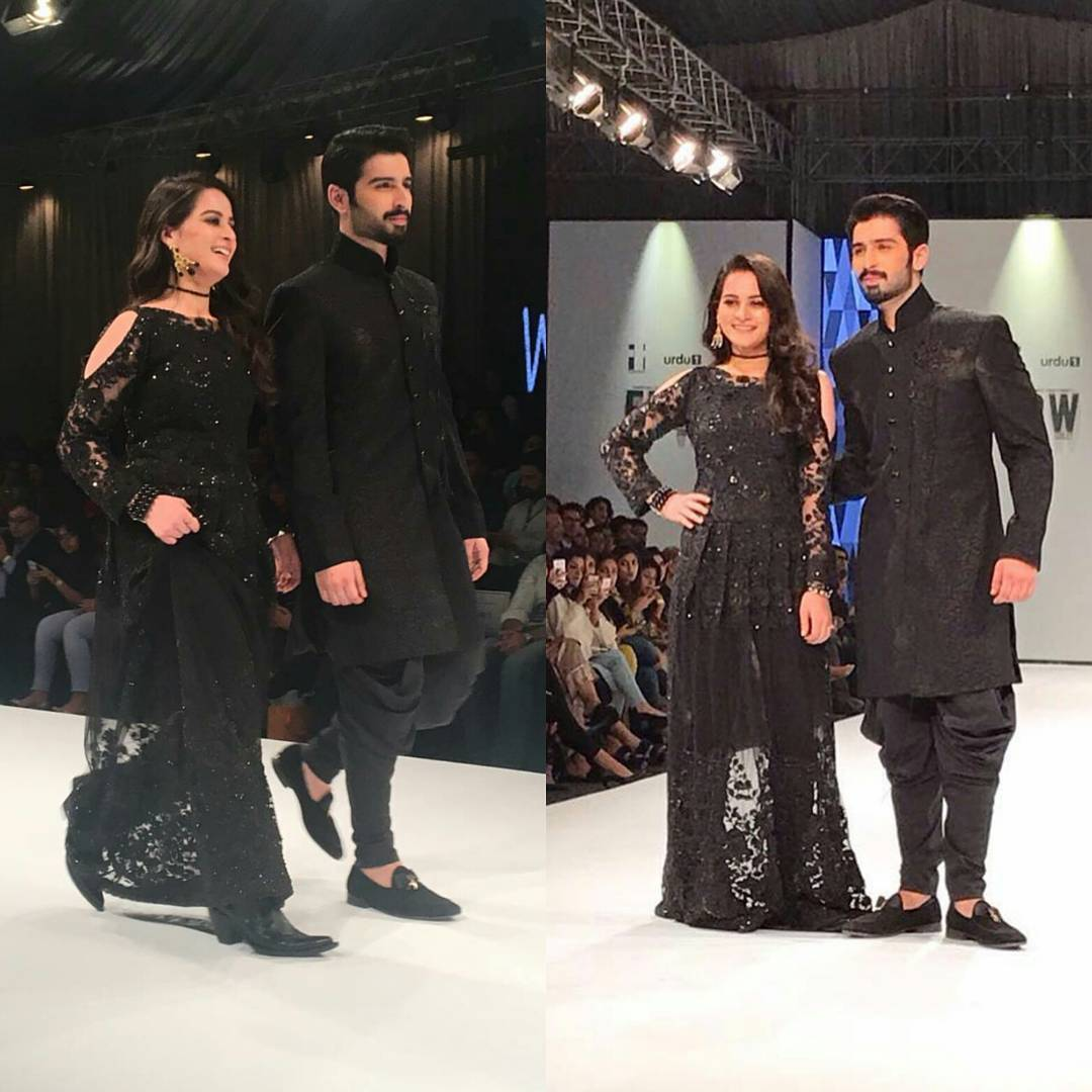 aiman khan muneeb butt pakistan fashion week 2017 (1)