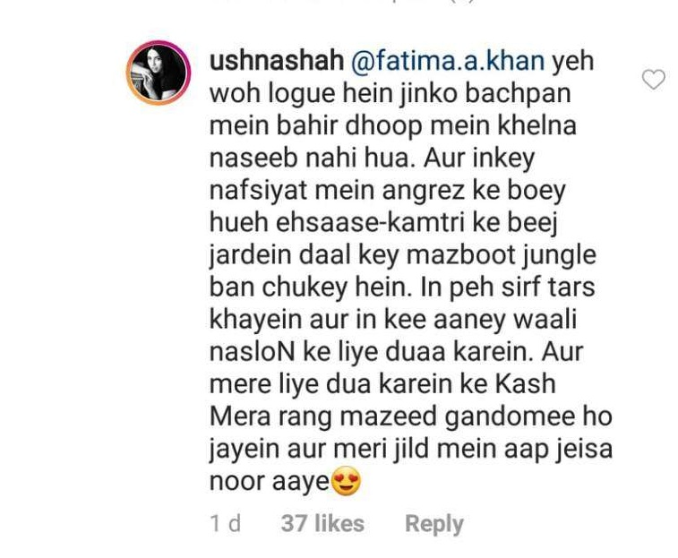 ushna shah hits back to haters